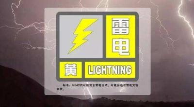 6月8日下午芒市发布雷电黄色预警信号,出行需注意安全!