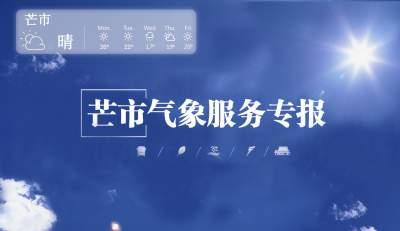 【芒市天气周报】8月31日~9月6日,晴间多云到阵雨天气为主