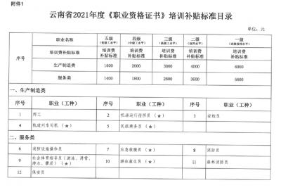 云南省2021年度职业技能培训、创业培训补贴标准来啦!这些职业(工种)可领→