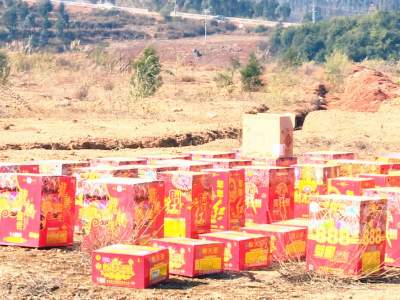 丘北集中销毁5000多件非法烟花爆竹制品