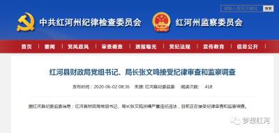 红河县财政局党组书记、局长张文鸣接受纪律审查和监察调查
