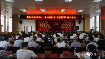 """红河县召开爱国卫生""""7 个专项行动""""达标督导汇报反馈会"""