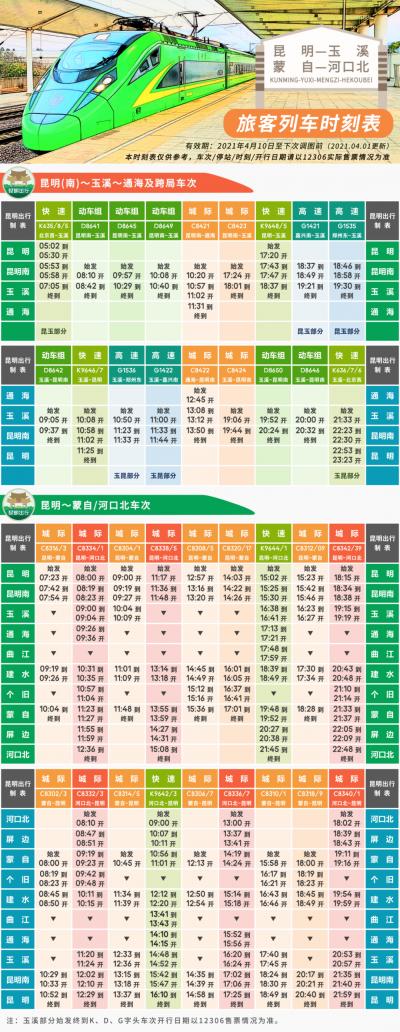 4月10日,昆明~蒙自~河口北列车时刻将有新调整……(内附新时刻表)
