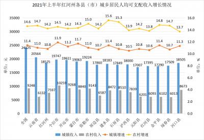 2021年上半年红河州县域城乡居民收入发展报告