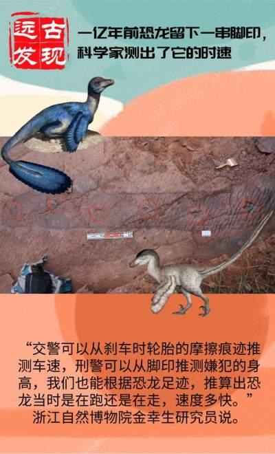 1亿年前恐龙留下一串脚印,科学家测出了它的时速