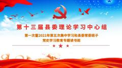 2021年第五次集中学习和县委常委班子党史学习教育专题读书班