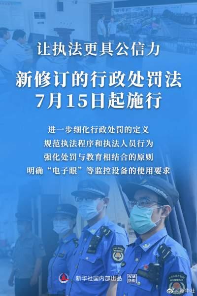 """权威快报 新行政处罚法7月15日起施行 完善""""电子眼""""执法等规定"""