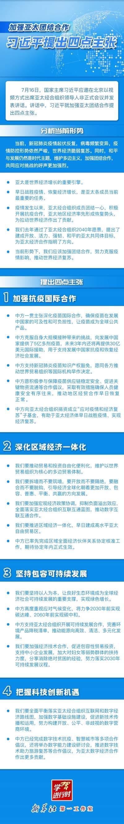 学习进行时|加强亚太团结合作,习近平提出四点主张