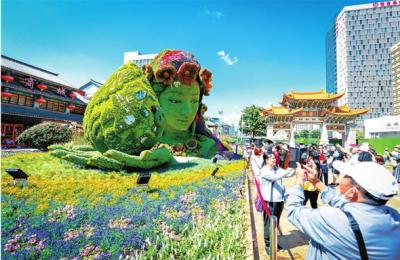 100组立体花坛展示春城花都之美 花融春城共襄美好