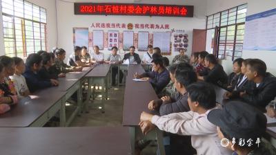 石桩村委会集中开展护林员培训暨党史学习教育会